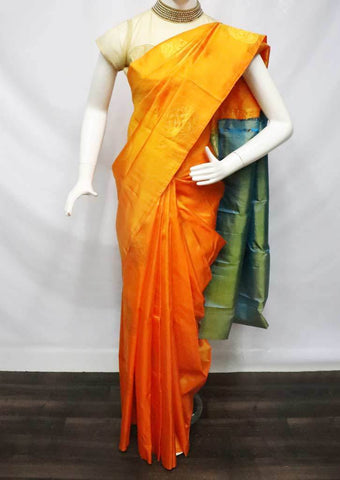 Orange with blue Kanchipuram Silk Saree -FU1475 ARRS Silks