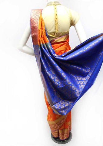 Orange with Blue Semi Silk Saree- FR98444 ARRS Silks