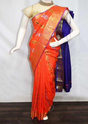 Orange With Blue semi silk saree  - GC9383 ARRS Silks