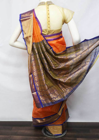 Orange With Blue Silk Cotton Saree - FU27695 ARRS Silks