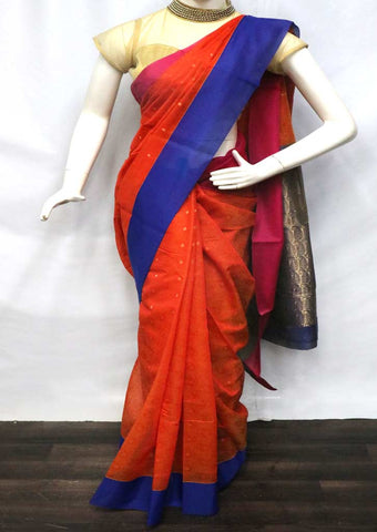 Orange with Blue Silk Cotton Saree - GA265443 ARRS Silks