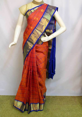 Orange with Dark Blue Kanchipuram Silk Saree - FL178 ARRS Silks