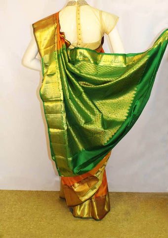Orange with Dark Green Kanchipuram Silk Saree- FF26165 ARRS Silks