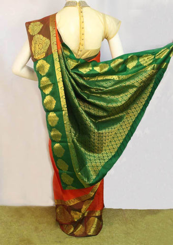 Orange with Dark Green Kanchipuram Silk Saree - FM89807 ARRS Silks