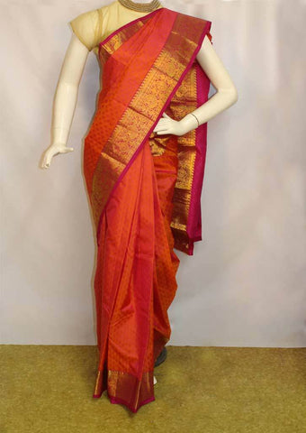 Orange with Dark Pink shaded Kanchipuram Silk Saree - FM76629 ARRS Silks