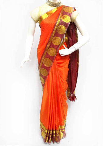 Orange with Gold Semi Silk Saree- FR98488 ARRS Silks