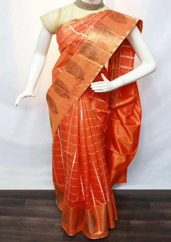 Orange with Golden Pure Raw Silk Saree - NCL7689 ARRS Silks