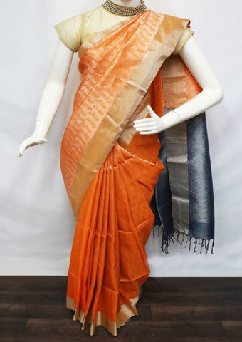 Orange with Gray Soft Silk Saree - FL84584 ARRS Silks