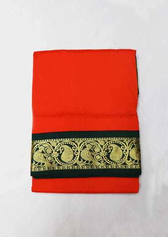 Orange With Green Art Silk 9.5 yards Saree - GG10704 ARRS Silks