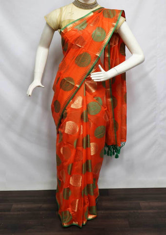 Orange With Green Fancy Cotton Saree - FW1103 ARRS Silks