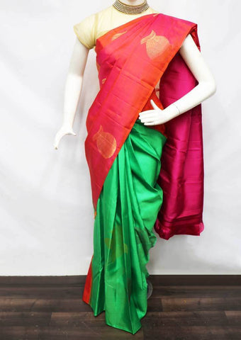 Orange With Green Kanchipuram Silk Saree -EY1734 ARRS Silks