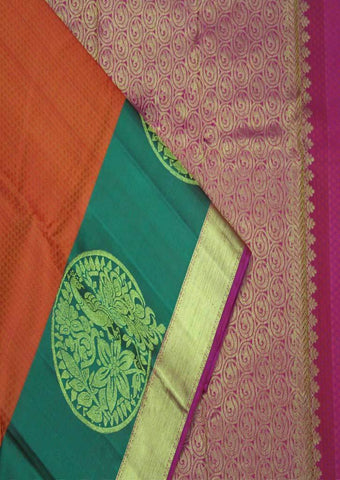 Orange With Green Kanchipuram Silk Saree-FF16750 ARRS Silks