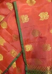 Orange With Green Kanchipuram Silk Saree - FN80591 ARRS Silks