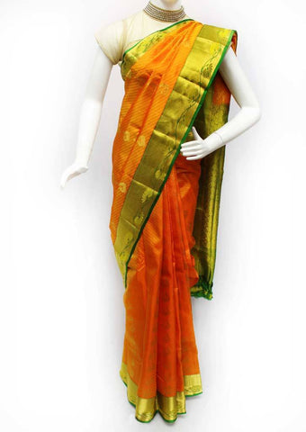 Orange with Green Kanchipuram Silk Saree - FQ41756 ARRS Silks