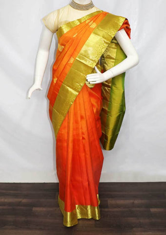 Orange with Green Kanchipuram Silk Saree -FT20348 ARRS Silks