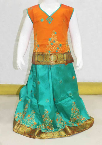 Orange with Green Pattu Pavadai - FN24289 ARRS Silks