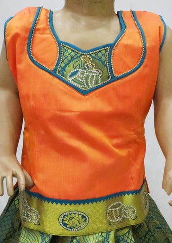 Orange with Green  Pattu Pavadai -FR21902  (Size : 5 Years ) ARRS Silks
