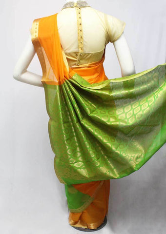Orange with green Silk Cotton Saree - FL5920 ARRS Silks