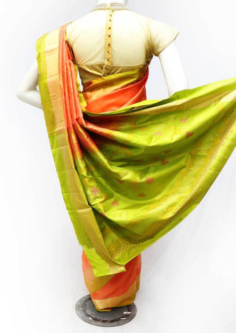 Orange with Green Soft Silk Saree - FQ38954 ARRS Silks