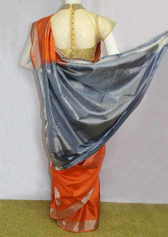 Orange with Light Grey Soft Silk Saree - FL87170 ARRS Silks
