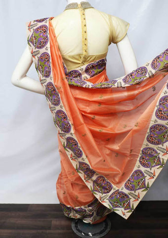 Orange with Light Sandal Fancy Cotton Saree - FU12022 ARRS Silks