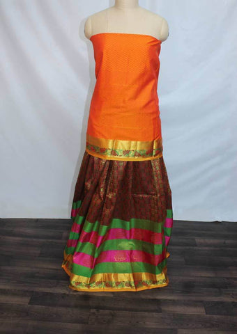 Orange With Maroon Colour Checked Pattu Pavadai Material - FF17444 (Size:  13Yrs to 18Yrs) ARRS Silks