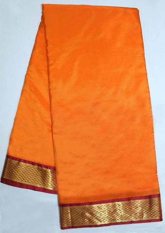 Orange with Maroon Coloured 9.5 Yards Silk Saree - FP53517 ARRS Silks