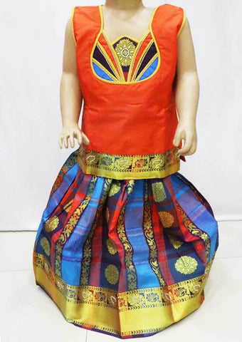 Orange with Multi color  Pattu Pavadai - FR22000 (Size : 5 Years ) ARRS Silks