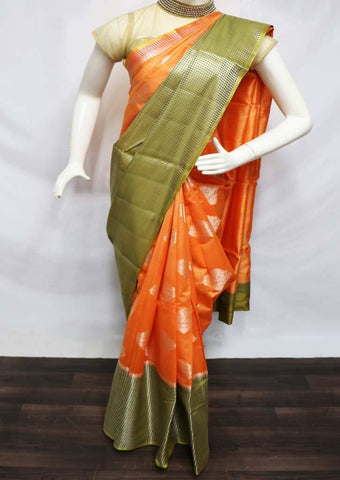 Orange with Mustard Green Pure Raw Silk Saree - FI10853 ARRS Silks
