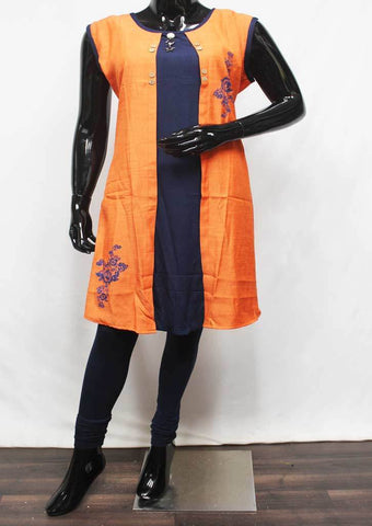 Orange with Navy Blue Color Kurti - FR11945 ARRS Silks