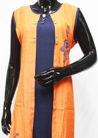 Orange with Navy Blue Color Kurti - FR11945 ARRS Silks Salem