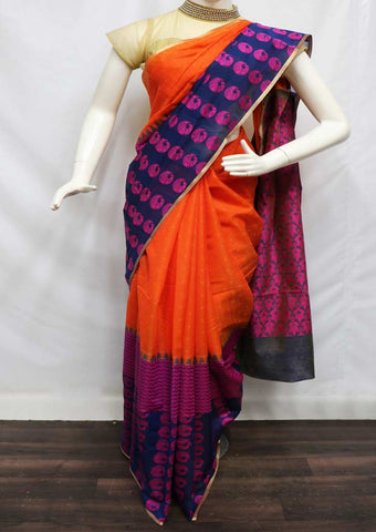 Orange With NavyBlue Silk Cotton Saree - FZ9486 ARRS Silks
