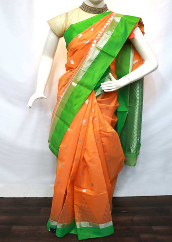Orange with Parrot Green Silk Cotton Saree - GC56210 ARRS Silks
