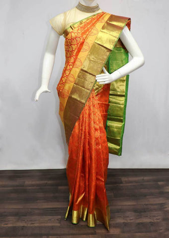 Orange with Parrot GreenWedding Silk Saree - 9KA4166 ARRS Silks