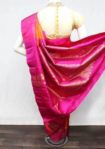 Orange with Pink checked Kanchipuram Silk Saree -FT20334 ARRS Silks