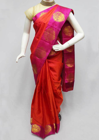 Orange with Pink Kanchipuram Silk Saree-FM76645 ARRS Silks