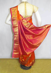 Orange With Pink Kanchipuram Silk Saree- FM89820 ARRS Silks