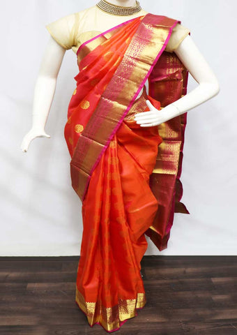 Orange With Pink  Kanchipuram Silk Saree - FQ111638 ARRS Silks