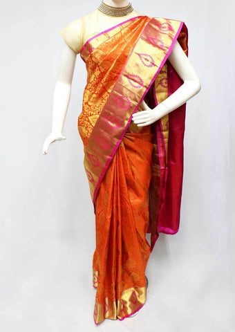 Orange with Pink  Kanchipuram Silk Saree -FS25069 ARRS Silks