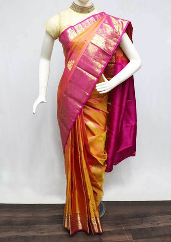 Orange with Pink Kanchipuram Silk Saree -FT20345 ARRS Silks