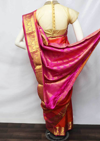Orange With Pink Kanchipuram Silk Saree -FU70892 ARRS Silks