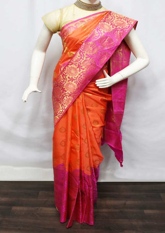 Orange With Pink Kanchipuram Silk Saree - FV3348 ARRS Silks