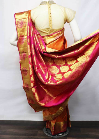 Orange With Pink Kanchipuram Silk Saree -FV7397 ARRS Silks
