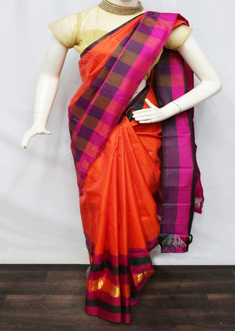 Orange With Pink  Kanchipuram Silk Saree - GB110903 ARRS Silks