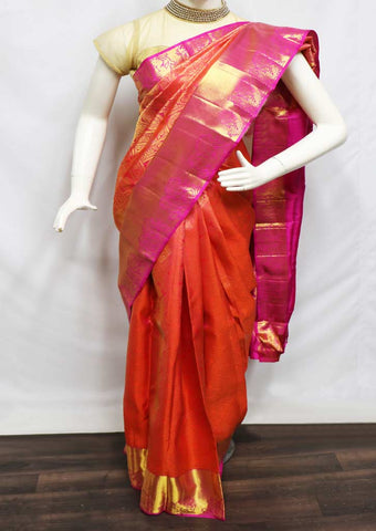 Orange with Pink Pattu Saree - 9KA3768 ARRS Silks