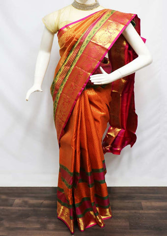 Orange with Pink Pattu Saree - FU50849 ARRS Silks