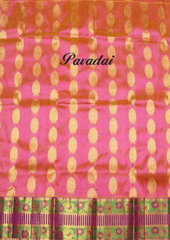 Orange With Pink Pure silk Unstitched pattu pavadai - SAD900( Age-Below 1.5 year,2 year,2.5 year,3 year ARRS Silks
