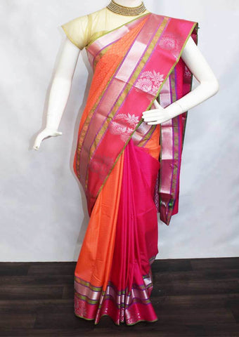Orange with Pink Semi Silk Saree- FM28992 ARRS Silks