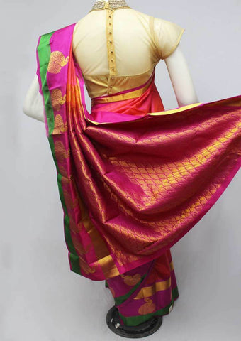 Orange with Pink Shade Kanchipuram Silk Saree-FQ111531 ARRS Silks