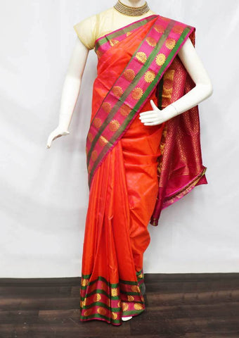 Orange with Pink Shade Kanchipuram Silk Saree -FU70946 ARRS Silks